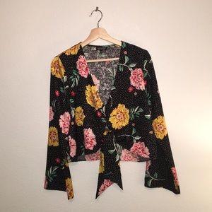 TOPSHOP tie front blouse
